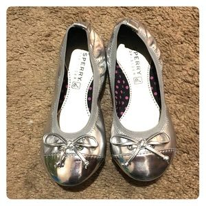 Sperry silver girls' shoes, size 11.